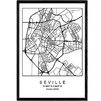 Nacnic Lámina Mapa de la Ciudad Seville Estilo nordico en Blanco y ...