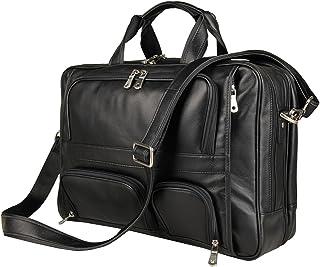 Men Vintage Black Genuine Leather Briefcase Office Business Messenger Bag