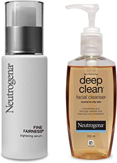 Neutrogena Fine Fairness Brightening Serum, 30ml and Neutrogena Deep Clean Facial Cleanser, 200ml