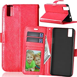 JUJIANFU-Phone Case for Huawei Honor 7i/for Huawei Shot X Solid Color Premium PU Leather Wallet Magnetic Buckle Design Flip Folio Protective Case Cover with Card Slot/Stand (Color : Red)