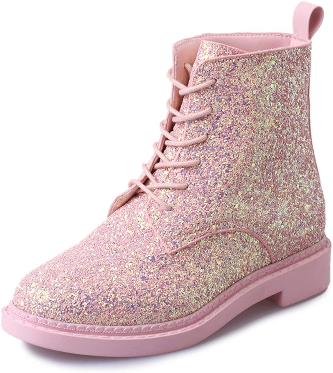 Jeff Tribble Women Ankle Boots Heels shoes Autumn Glitter Lace up Boots Casual Bling Pink Black White