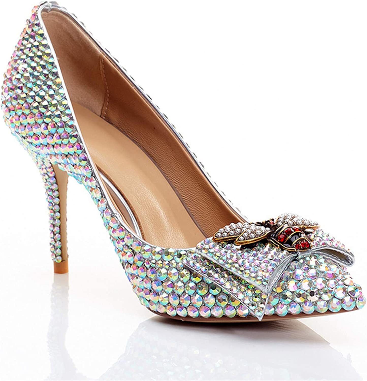 Popular Shallow Mouth High Heel Genuine Leather Wedding Womens shoes,color Rhinestone Bowknot Princess Bride Bridesmaid Fashion Pointed shoes