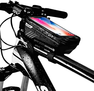 KT-GARY Bike Phone Mount Bag, Bicycle Front Frame Bag Waterproof Touch Screen Phone Case Holder...