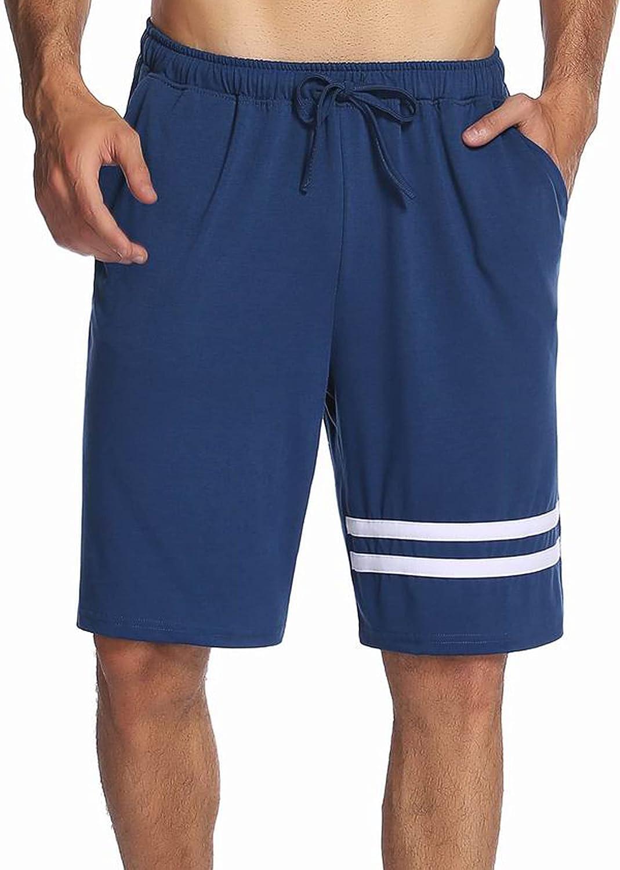 Ekouaer Pajama Shorts Men's Soft Cotton Sleepwear Summer Knit Sleep Shorts Short Lounge Bottoms with Pockets S-XXL