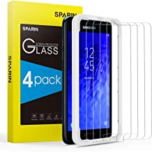 [4 Pack] Screen Protector for 2018 Galaxy J3 / J3V with Alignment Frame, SPARIN Tempered Glass for Samsung Galaxy J3 2018 / J3 V 2018 (SM-J337) - Easy Install/Anti-Scratch