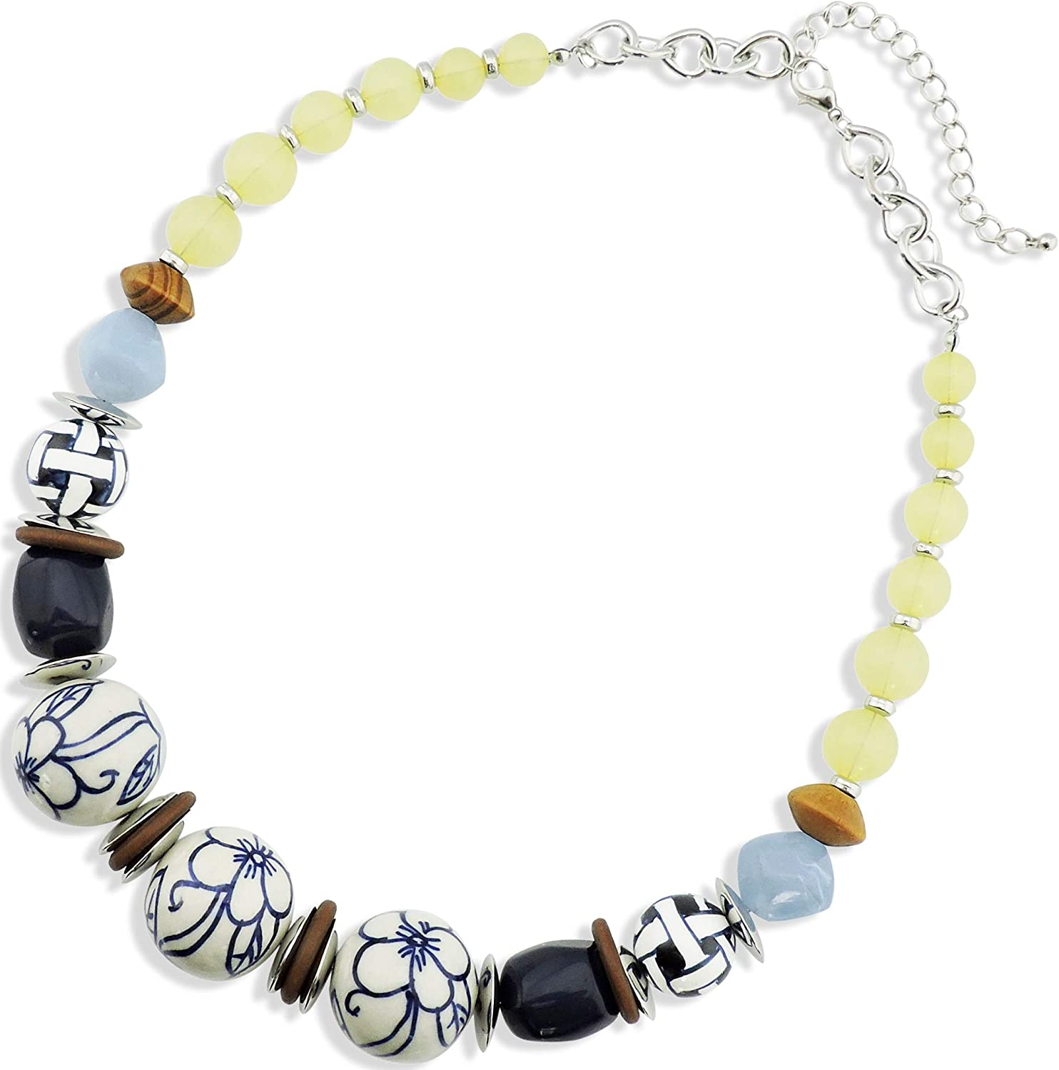 Firstmeet Ceramic Acrylic Wood Big Beads Chunky Collar Statement Necklace for Women
