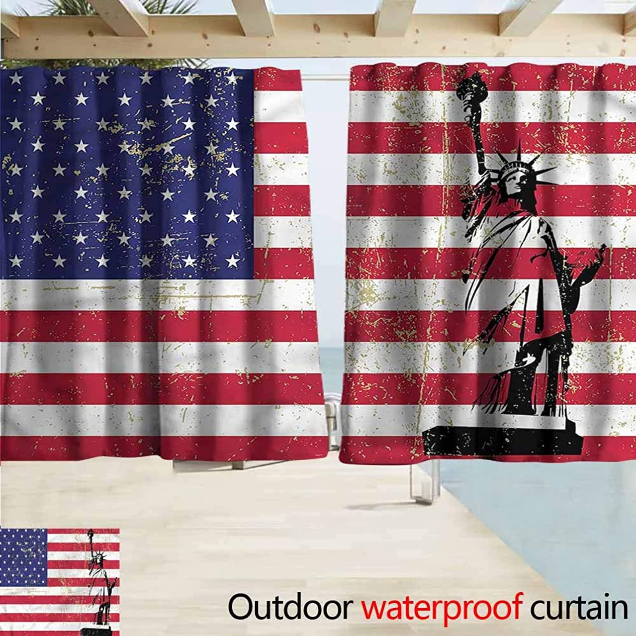 MaryMunger Outdoor Blackout Curtains New York Statue of Liberty USA Rod Pocket Energy Efficient Thermal Insulated W63x63L Inches