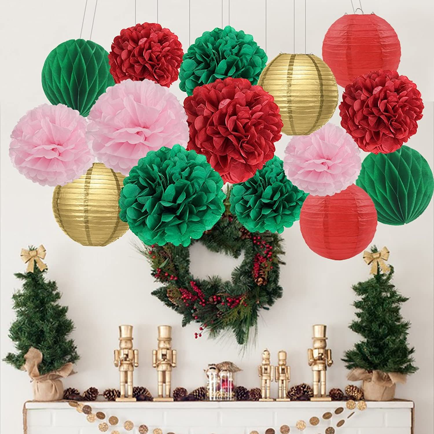 Furuix birthday decorations party decorations 15 points wedding decoration paper pompom lanterns Paper Flower honeycomb ball Red Green gold Pink