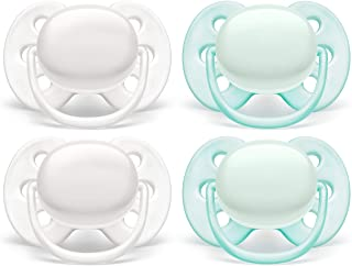 Philips AVENT Ultra Soft Pacifier, 0-6 Months, Arctic White/ Green, 4 Pack, SCF214/40, White/ Green