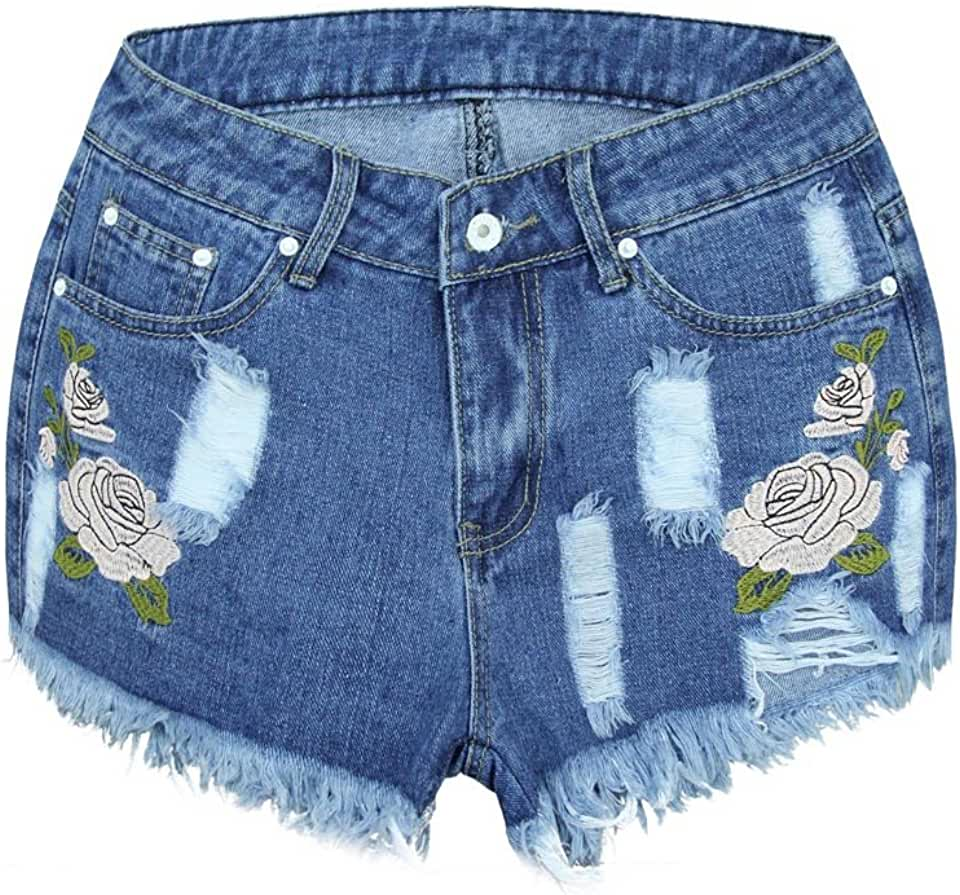 iDWZA Women Floral High Waist Denim Shorts Worn Loose Jeans Shorts