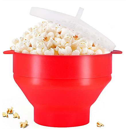 Original Microwaveable Silicone Popcorn Popper, BPA Free Microwave Popcorn Popper, Collapsible Microwave Popcorn Maker Bowl, Use In Microwave, Dishwasher Safe - Various Colors Available (Red)