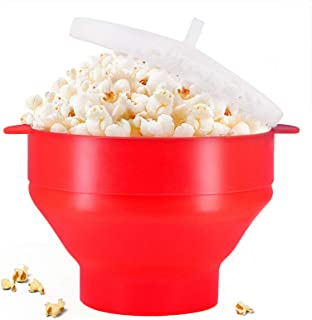 (Red) - Microwaveable Silicone Popcorn Popper, BPA Free Collapsible Hot Air Microwavable Popcorn Maker Bowl, Use In Microw...