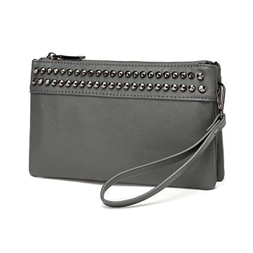 f6aaa104325f Wristlet Clutch Purses,VASCHY SAC Large Studs Soft Faux Leather Crossbody  Evening Clutch Wallet for