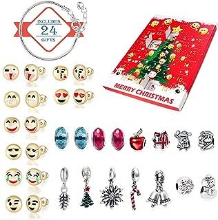 Migavan Christmas Advent Countdown Calendar DIY 24 Days Charms Bracelet Emoji Beads Ear Studs Set Surprise Box for Kids Children Xmas Gifts