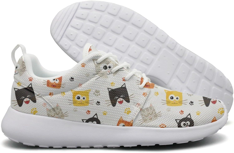 Opr7 Cute Cartoon Cat Faces and Footprint Lightweight Running shoes for Women Sneaker Fashion