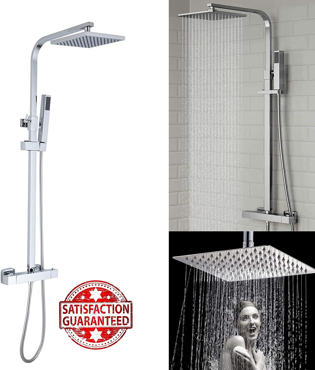 Bathroom Thermostatic Luxury Shower System, Rain Shower Mixer Valve Set with Square 200MM Showerhead, Handheld Shower, Chrome Finish+Adjustable Rail & 2.5M Hose All in One-Easy to Install