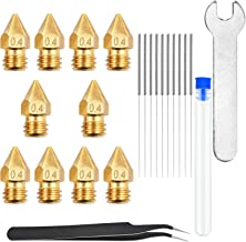 22PCS 3D Printer Nozzle Cleaning Kit, 10Pcs 0.4 mm MK8 3D Printer Extruder Nozzles for Creality CR-10 Ender 3 Pro, 10 Pcs ...