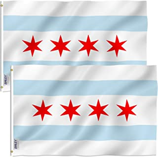 Anley Pack of 2 Fly Breeze 3x5 Foot City of Chicago Flag - Vivid Color and UV Fade Resistant - Canvas Header and Double St...