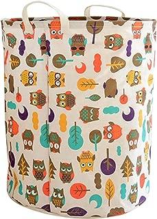 LEELI Laundry Hamper with Handles-Collapsible Canvas Basket for Storage Bin,Kids Room,Home Organizer,Nursery Storage,Baby Hamper,19.7×15.7 (owl)