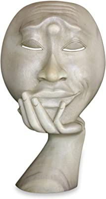 """NOVICA 62563"""" Man in Thought I Wood Sculpture"""