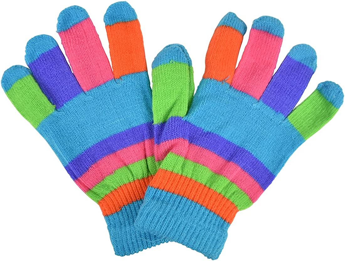 Striped Ladies Gloves Magic Knit Gloves for Women
