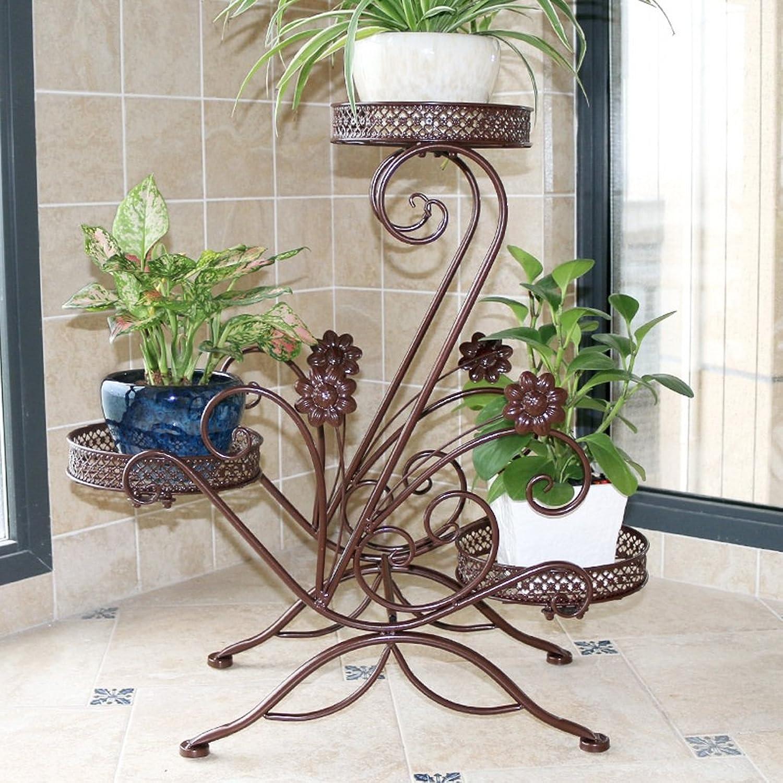 Plum Multi-Storey Indoor Flower Racks Space Wrought Iron Balcony Living Room Hanging Plants Green Floor-Standing Pot Rack (color   Brown)