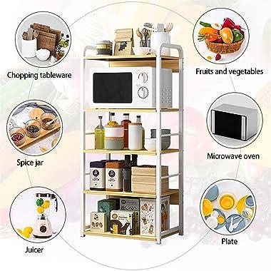 5層シェルフキッチン電子レンジラック多層多機能キッチン収納のフロアスタンドシーズンディッシュラック省スペース