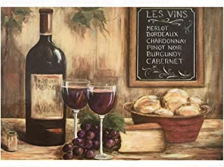 Morgan Home / Blissful Living Set of 4 Placemats, Red Wine Glasses & Cheese
