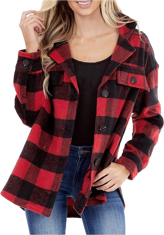 Women's Plaid Long Sleeve Jacket Lapel Button Button Shirt Wool Blend Jacket European and American Street Trendy Top