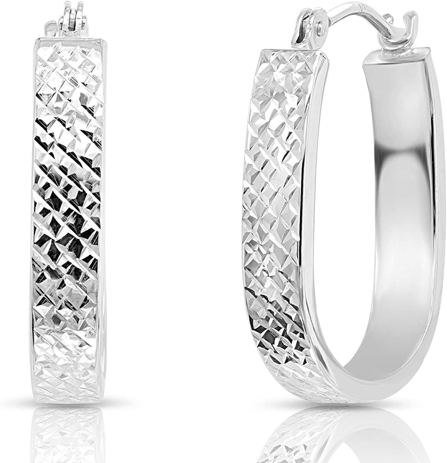 14k White Gold Max 48% OFF Ranking TOP1 Small U-shaped Hoop Oval Earrings