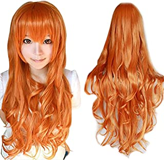 Anogol Hair+Cap Orange Long Wavy Cosplay Wig Synthetic Wig for Girls Orange Cosplay Wig Orange Wavy Wig for Costume Halloween
