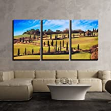 wall26 - 3 Piece Canvas Wall Art - Cypress Trees Scenic Road. Siena, Tuscany, Italy. - Modern Home Decor Stretched and Framed Ready to Hang - 16