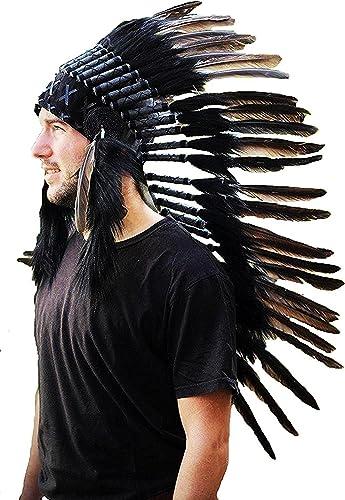promocionales de incentivo N73 - Sombrero Indio mediano de Color negro     penacho   tocado de plumas  ventas en linea