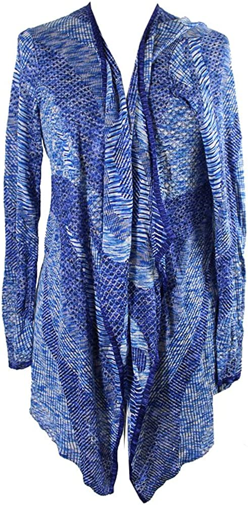 Inc International Concepts Plus Size Space-Dyed Waterfall Cardigan in Goddess Blue