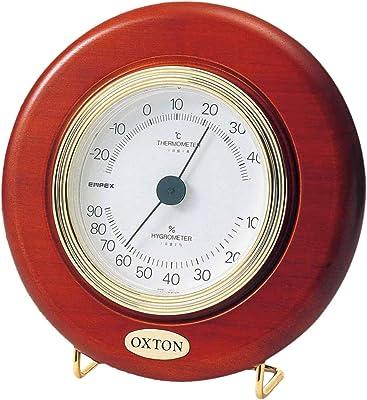エンペックス気象計 温度湿度計 オックストン・カプリ温湿度計 置き掛け兼用 日本製 ブラウン TM-6168