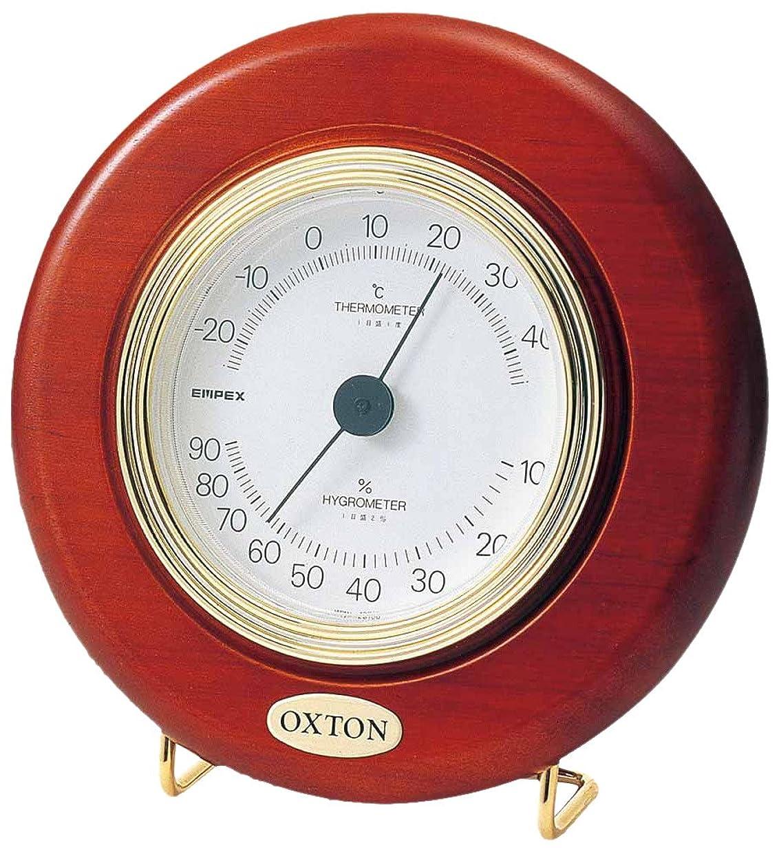 皮ノイズトランジスタエンペックス気象計 温度湿度計 オックストン?カプリ温湿度計 置き掛け兼用 日本製 ブラウン TM-6168