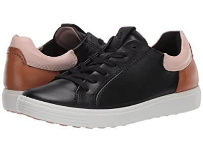 ECCO Soft 7 Street Sneaker (Black/Rose Dust/Lion Cow Leather/Cow Leather/Cow Nubuck) Women