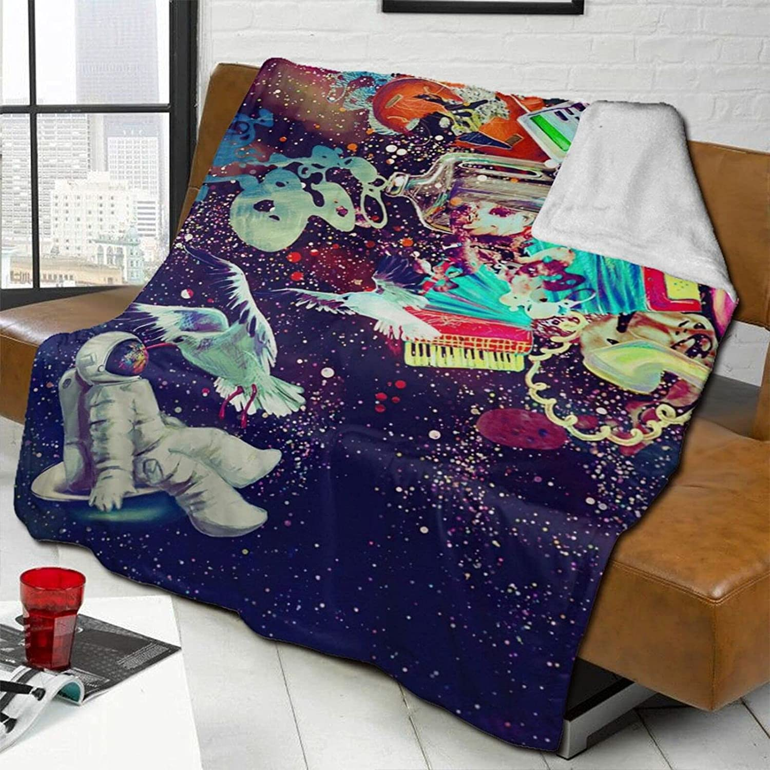 Astronaut Galaxy Inventory cleanup selling sale Lamb Wool Double-Sided OFFicial mail order Blanket Throw