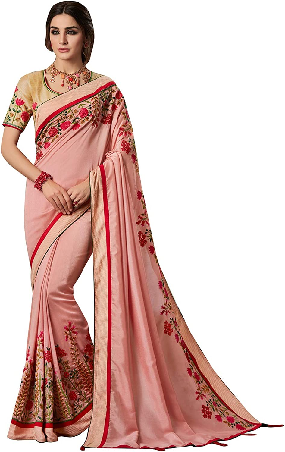 Maahir Garments Exclusive Blended Silk Baby Pink Colour Embroidery Work Fancy Saree with Dupion Blouse