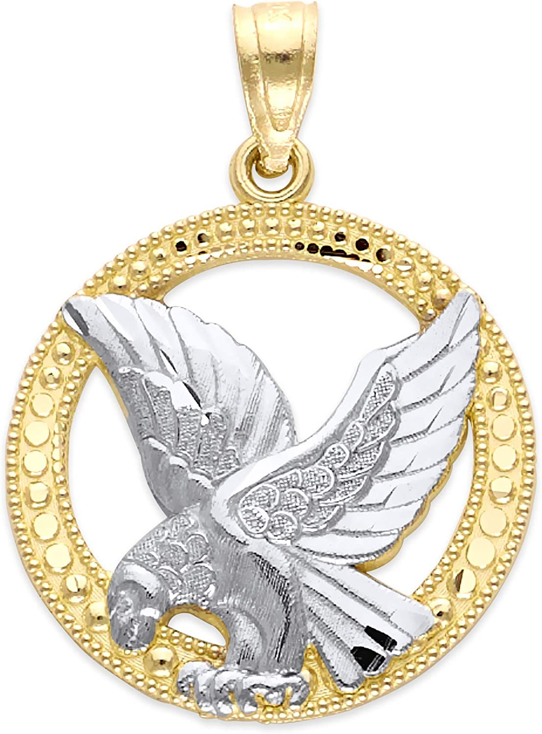 10k Real Solid Yellow Gold Eagle Pendant, Dainty Two Tone Animal Jewelry Charm Symbolizing Strength and Pride