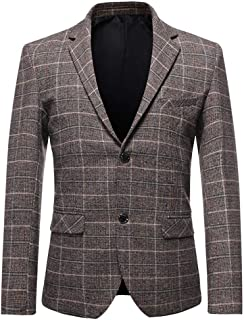 YOUTHUP Mens Slim Fit Tweed Blazer Casual 2 Button Check Suit Jacket Formal Business Blazers