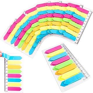 QUACOWW 1440 stuks zelfklevende notitieblaadjes, fluorescerende plakkerige notities met liniaal, vijf beschrijfbare bladwi...