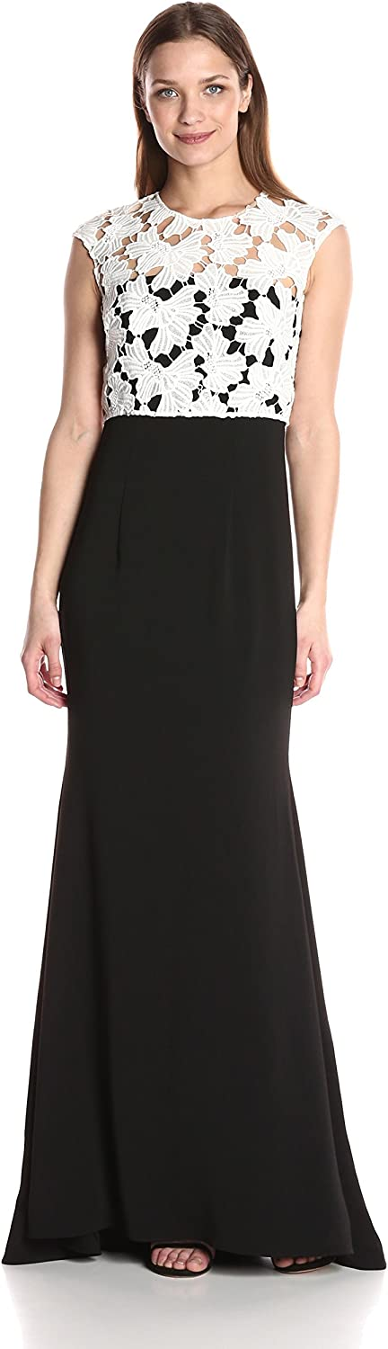 Carmen Marc Valvo Infusion Womens Crepe Strapless Gown W Cap Sleeve Lace Popover Dress
