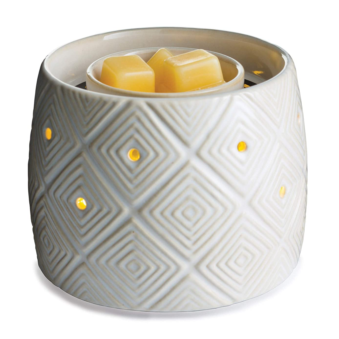 CANDLE WARMERS ETC. Illuminaire Fan Fragrance Warmer- Fan Circulates Scent from Scented Candle Wax Melts and Tarts for Full Room Freshener, Geometric