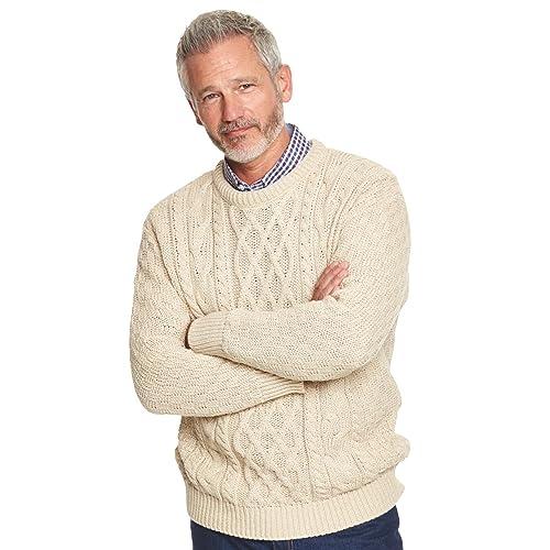 748d1f01f2a635 Mens Warm Aran Jumper Cable Sweater