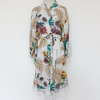 Traje de kimono de mujer floral blanco (con adornos de encaje) -Ropa de kimono de dama de honor-Regalo de boda de dama de ...