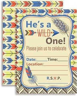 Wild One Boy, Tribal Boho Birthday Party Invitations Fill in Invitations, 20 5