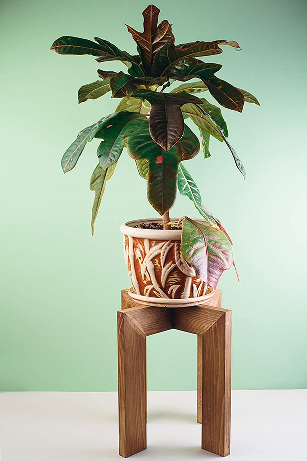 Branded goods Mid Century Wood Plant Stand Indoor up pots Max 78% OFF to - for Adjustable