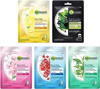 Garnier Skin Naturals Face Serum Sheet Mask Combo (Light Complete + Hydra Bomb Blue + Sakura White + Hydra Bomb Green + Ch...
