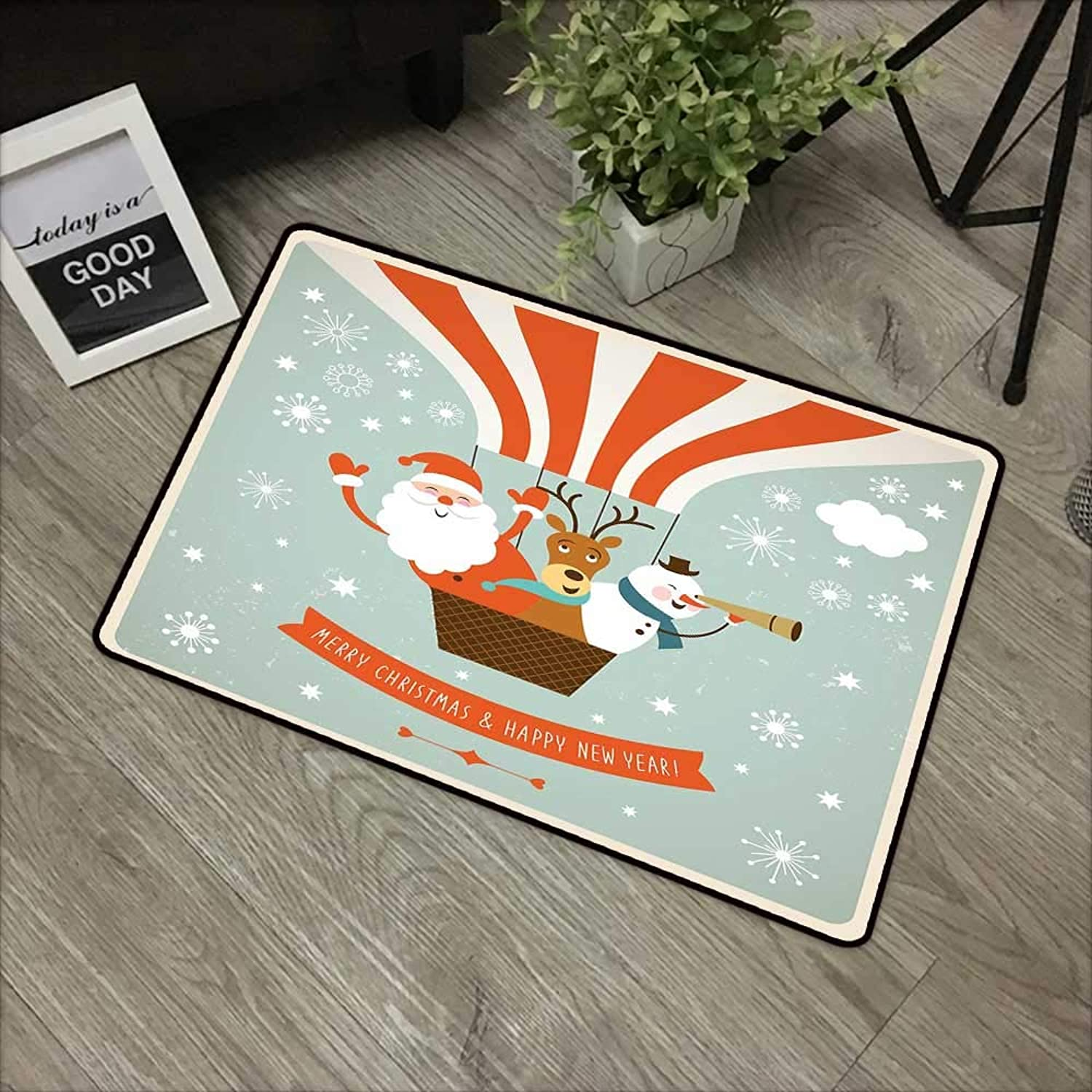 Clear printed pattern door mat W35 x L59 INCH Santa,Father Christmas Deer and Snowman on a Hot Air Balloon Snowflakes in Retro Style,Multicolor Easy to clean, no deformation, no fading Non-slip Door M